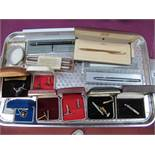 Assorted Vintage Gents Cufflinks, Parker, Cross and other pens:- One Tray