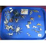 A Small Collection of Ornate Brooches, including diamanté spiders, lizards, frog and ladybird,