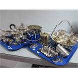 A Mappin & Webb Plated Three Piece Tea Set, a plated swing handled dish, set of goblets, a toast