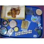 Modern Combs, 1944 10 and 25 Cents Netherlands bracelet, powder compacts, trinket box, 1951 Festival