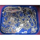 A Mixed Lot of Diamante and Other Costume Jewellery, including bracelets, brooches, clip earrings,