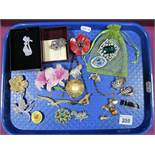 """Assorted Costume Brooches, including """"Past Times"""", """"Doves"""", brooch (stamped """"925"""") etc:- One Tray"""