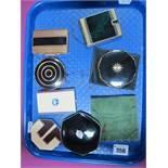 Seven Assorted Vintage Power Compacts, including Coro-Park, KIGU, Rowenta, Stratton, Melissa,