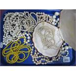 """A Long Graduated Single Strand Imitation Pearl Necklace, to oval clasp stamped """"9ct"""", further"""