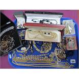 A Mixed Lot of Assorted Costume Jewellery, including chains, earrings, diamante, imitation pearls