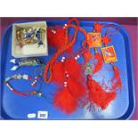 A Mixed Lot of Oriental Style Decorative Pieces, a small collection of articulated fish keyrings and