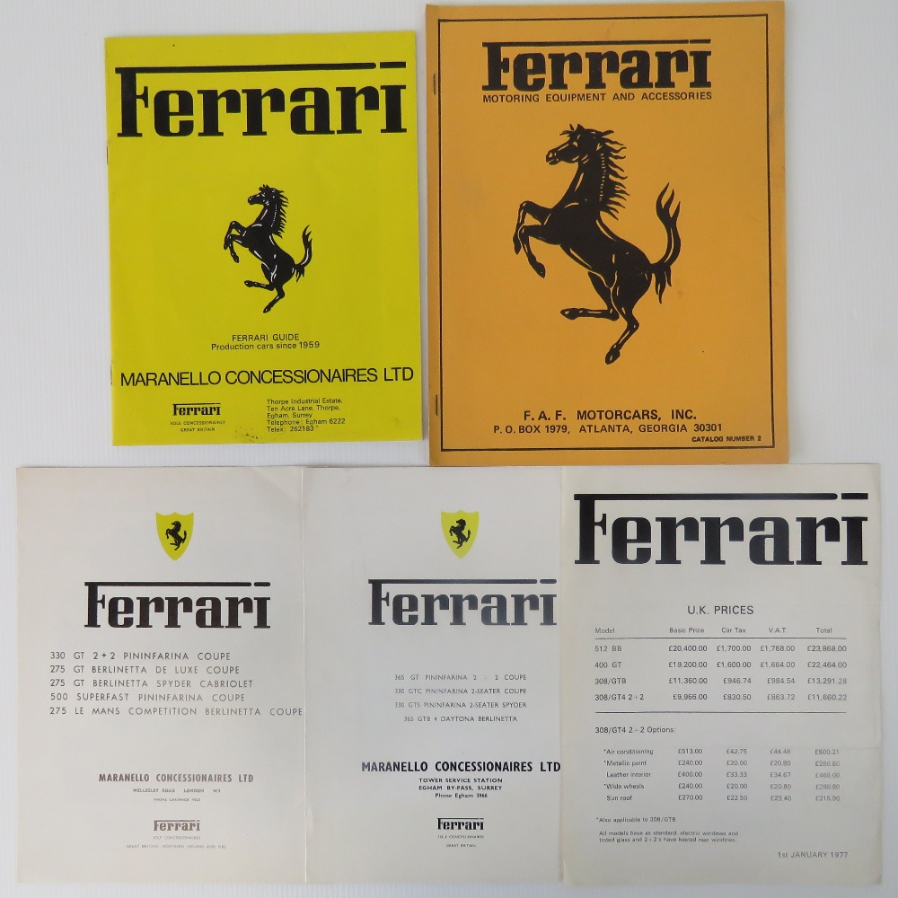A Ferrari January 1977 UK Price List, Together With A