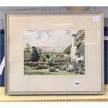 WATERCOLOUR OF COTTAGES IN A RURAL LANDSCAPE BY SIDNEY PERRIN 36CM X 27CM APPROX