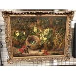 19TH CENTURY OIL ON CANVAS IN ORNATE GILT FRAME BY OLIVER CLARE DEPICTING BIRD'S NEST AND FRUIT ON