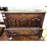 EARLY/18TH CENTURY COFFERBACH WITH FIELDED PANEL FRONT OVER A SINGLE DRAWER (HINGES AND LOCK HAVE