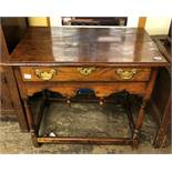 17TH CENTURY OAK SINGLE DRAWER SIDE TABLE ON TURNED LEGS HAVING WOODEN STRETCHERS AND PENDANT APRON