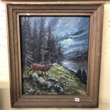 OIL ON CANVAS OF A STAG IN THE FOREST SIGNED EROTS IN A GILT FRAME 47CM X 57CM APPROX