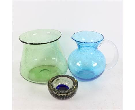 A green Whitefriars bubble glass vase, another vase and a Murano bubble glass dish (3).The green bubble glass vase has