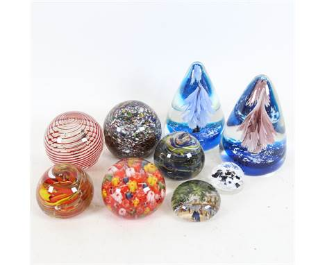 9 glass paperweight ornaments, including red and white spiral example with air bubble, largest height 11cm (9)