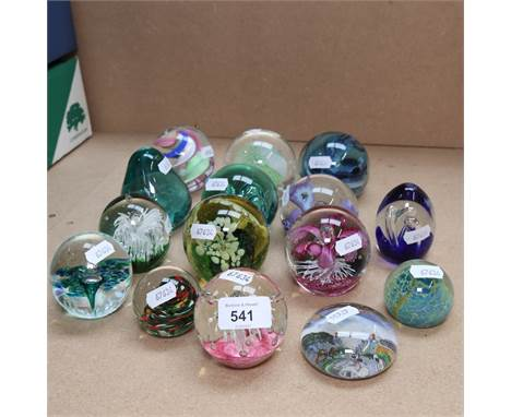 A group of glass paperweight ornaments, makers include Caithness, largest height 8cm (15)