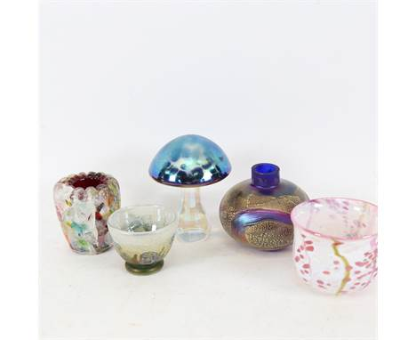 Various Studio glass, including Isle of Wight gilded iridescent squat vase, iridescent mushroom paperweight, bowls etc, mushr
