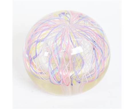 A Vintage Murano Filigrana spiral glass paperweight, circa 1970s, diameter 6cm.There is a small area with surface chips just