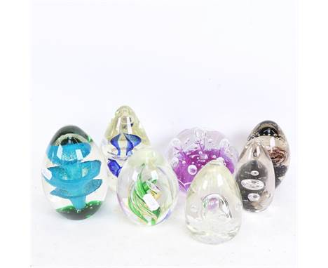 A group of large glass paperweight ornaments, largest height 13cm (7)