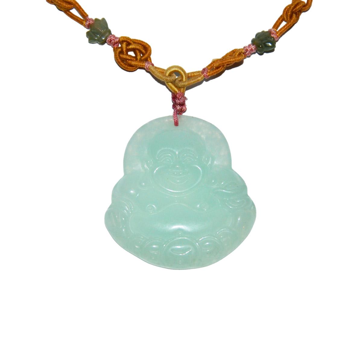 Lot 5 - 玻璃種翡翠雕彌佛掛飾連項錬 Glass Jadeite Pendant Carved with Maitreya Height: 2 in (5.1 cm)  Weight: 25 g