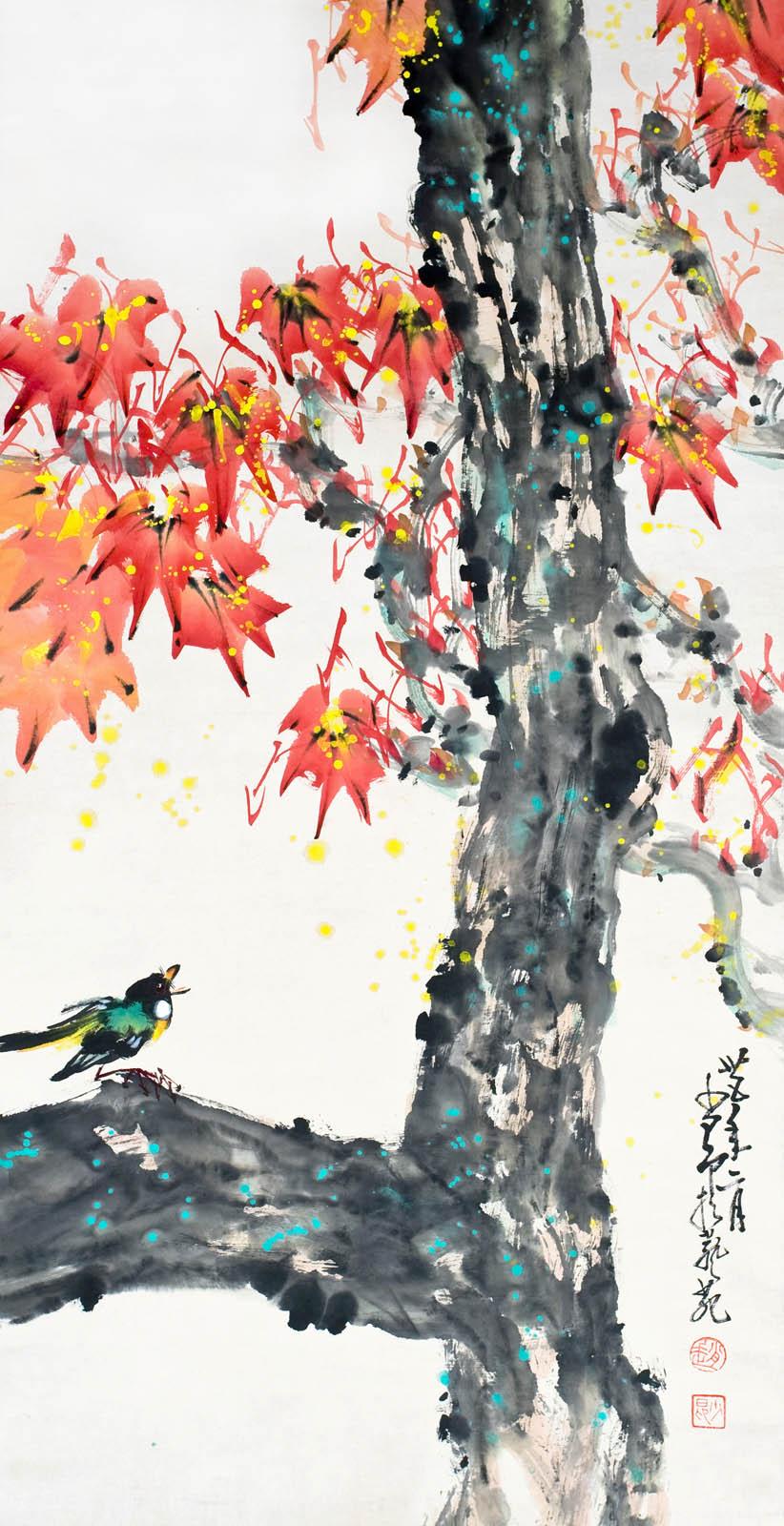 Lot 57 - 趙少昂  (1905 - 1998)  楓紅聽鳥啼  設色水墨紙本立軸  1946 年作  款識:卅五年二月少昂於藝苑  鈐印:(趙)(少昂)  Zhao Shaoang  Birds Singing
