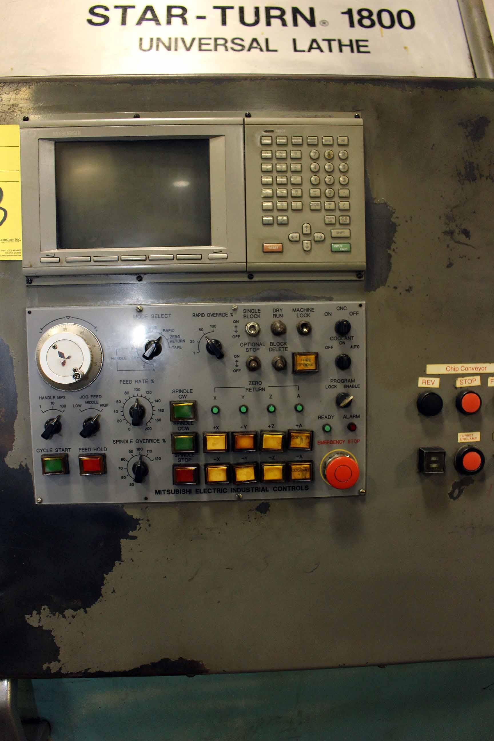 Lot 8 - CNC CHUCKER, PRATT & WHITNEY MDL. STARTURN 1800, Mitsubishi Meldas 50 (M50) Series CNC control,