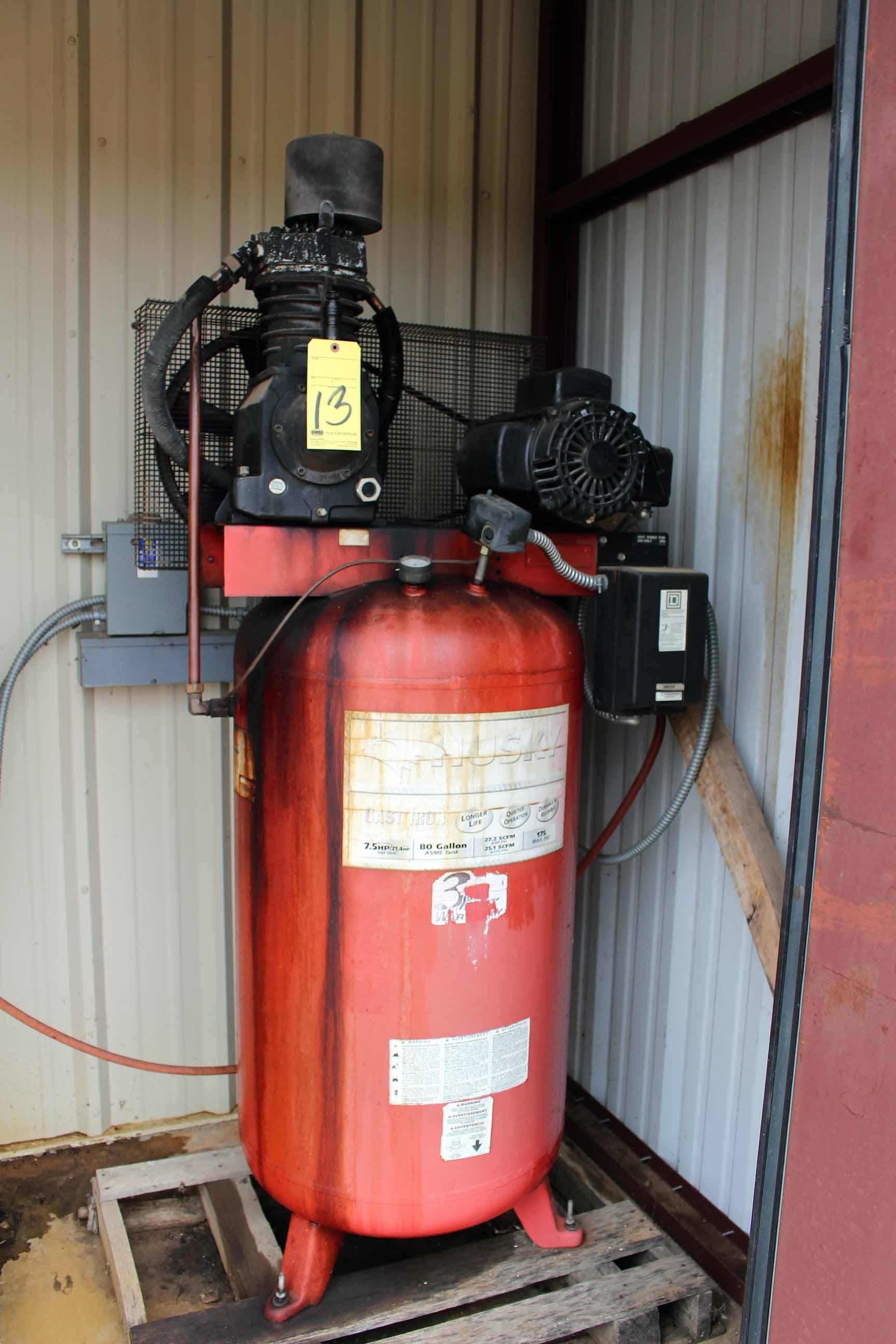 Lot 13 - AIR COMPRESSOR, HUSKY PRO, 80 gal. tank, 7-1/2 HP motor, 175 max. PSI (Location A)