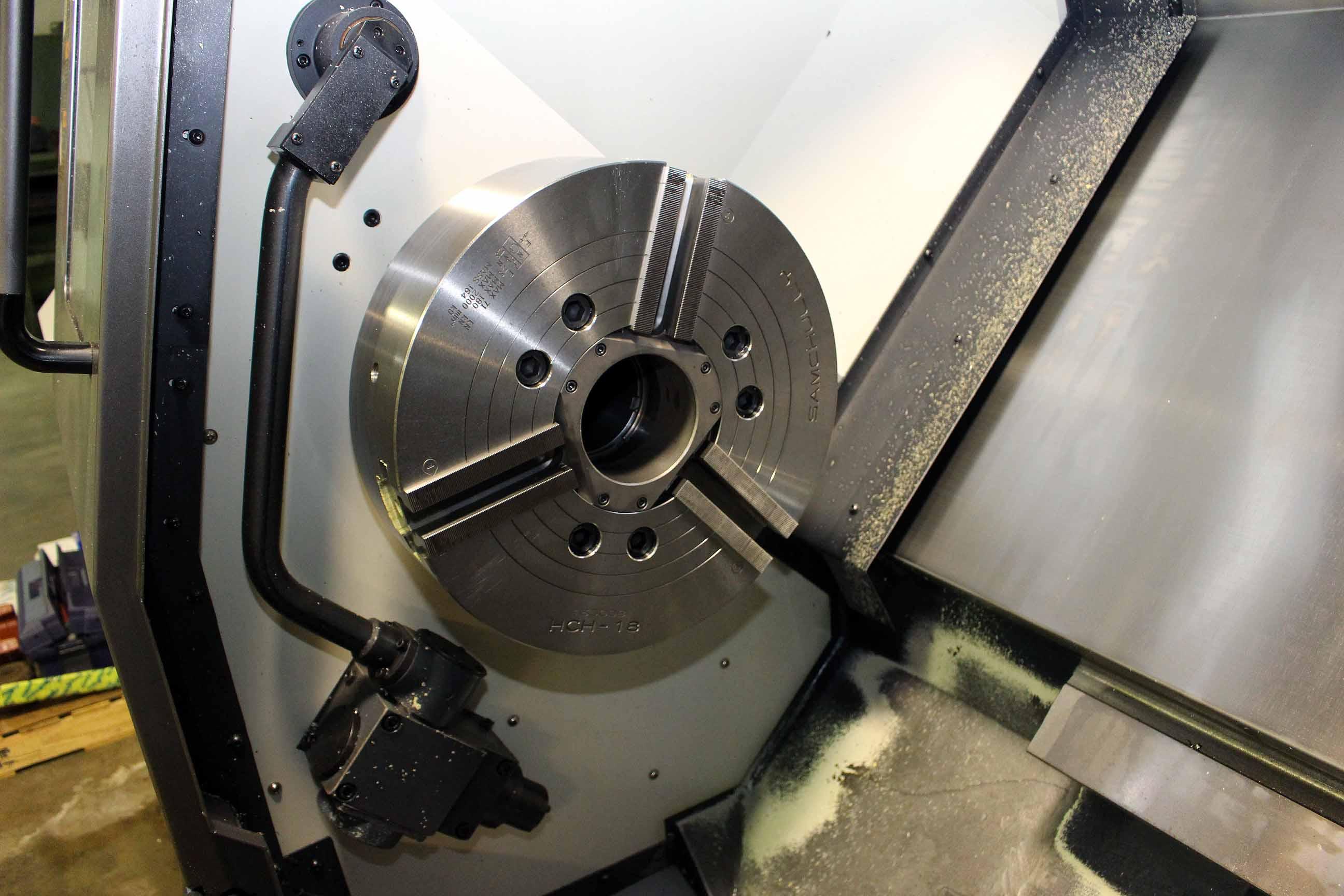 "Lot 1 - CNC LATHE, DAEWOO PUMA MDL. 400B, new 2013, 18"" chuck, 40"" dist. btn. centers, chip conveyor, S/N"