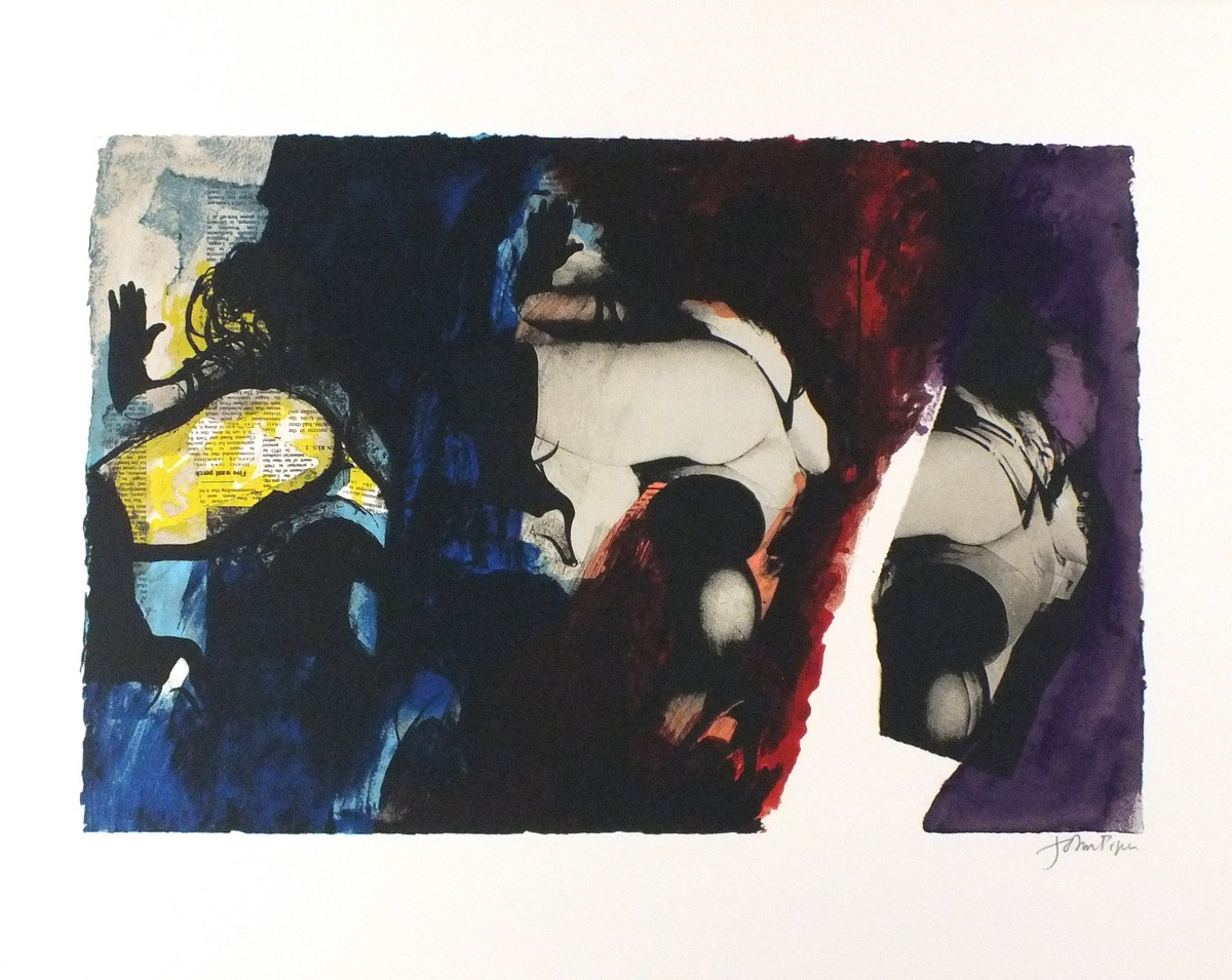 Lot 58 - John PIPER (British 1903-1992)Eye & Camera: Red, blue and Yellow, Screen print circa 1980, Levinson