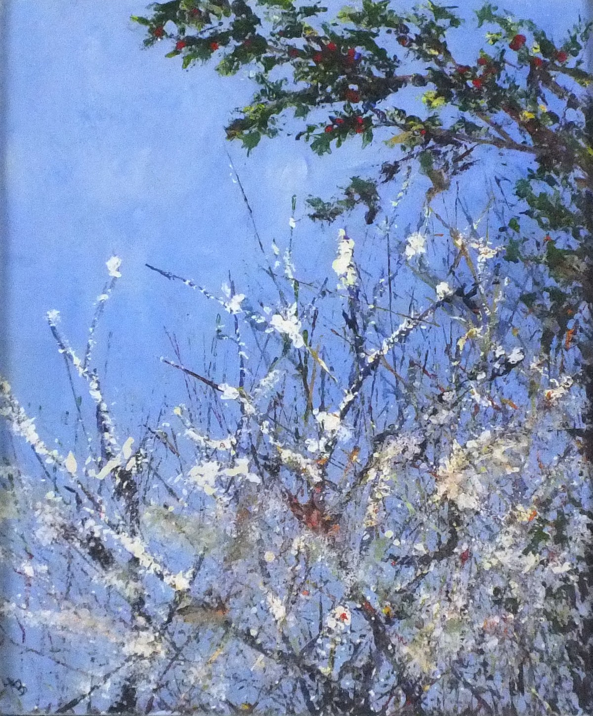 Lot 9 - Lesley BICKLEY (British b. 1955) Blackthorne Blossom, Acrylic on canvas, Signed with initials