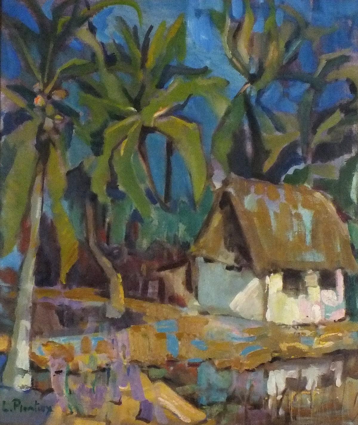 Lot 7 - Leopold PLOMTEUX (Belgian 1920-2008)Paysage Exotique (Exotic Landscape), Oil on canvas laid down,