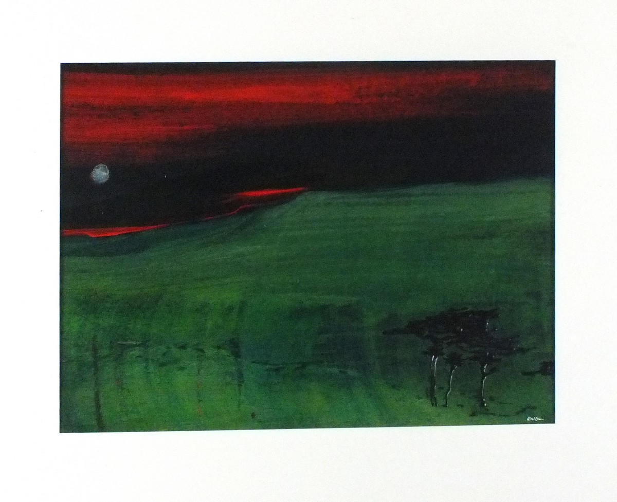 Lot 56 - Ian LAURIE (British b. 1933)Moon Over a Landscape with Pines, Acrylic on paper, Signed lower right,
