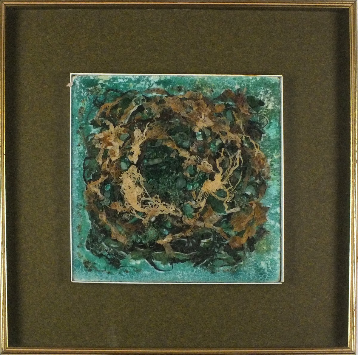 Lot 42 - Jean HAYLETT (British 1924-2018)Sea Scene, Mixed media including seaweed, Artists details verso,