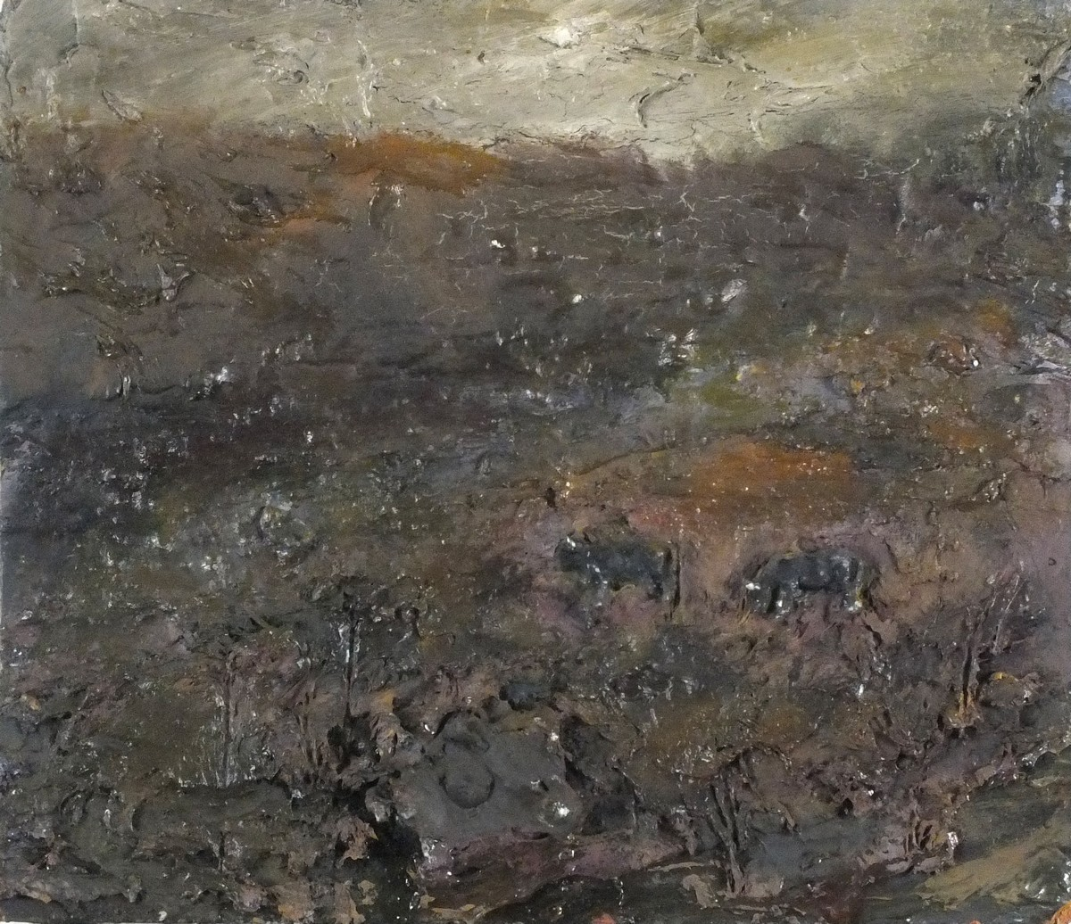 """Lot 29 - Andrew HARDWICK (British b.1961)'The Cows, South Moor' , Mixed media on board, titled verso, 10"""""""