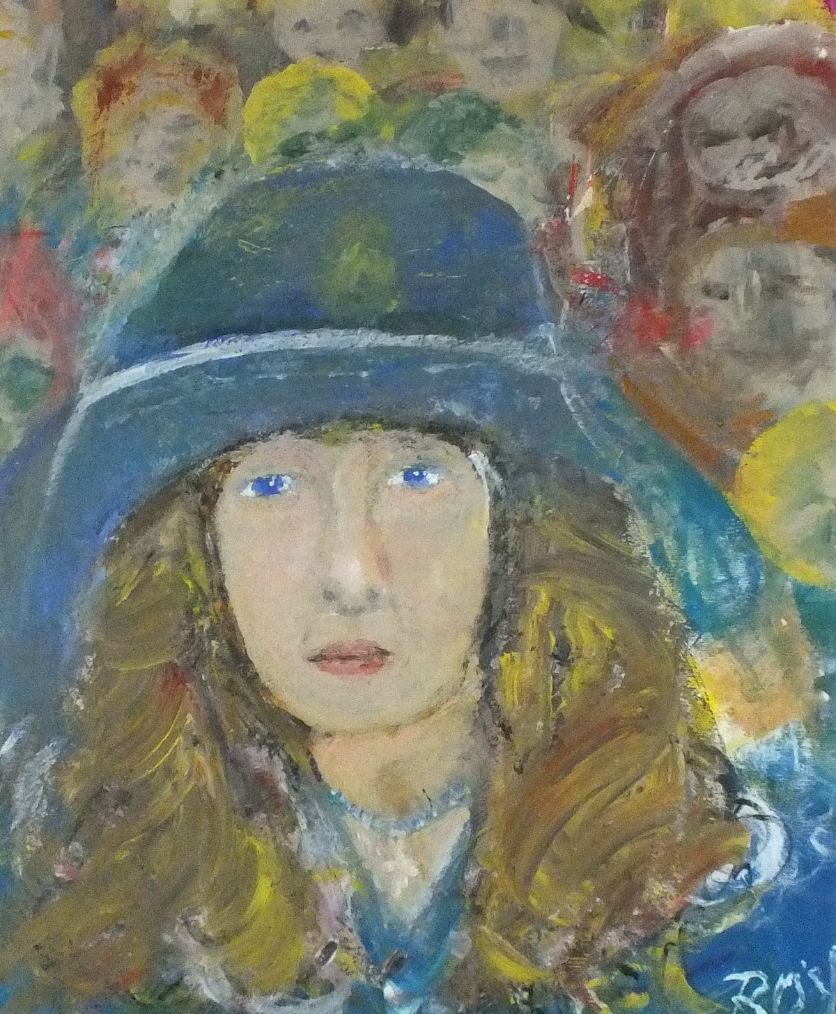 Lot 17 - Roy DAVEY (British b. 1946) A Cornish Girl in a Blue Hat, Oil on board, Signed lower right, Signed