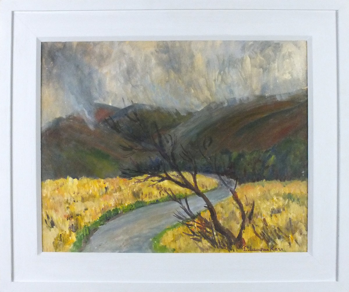 Lot 36 - Elizabeth Lamorna KERR (British 1905-1990) Rainstorm on Dartmoor, Oil on board, Signed lower