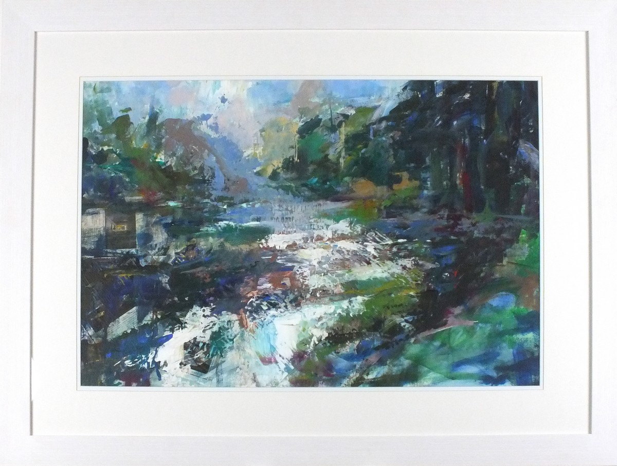 Lot 44 - Joanna COMMINGS (British b. 1950) Winter in the Pine Forest, Acrylic, titled and signed on label