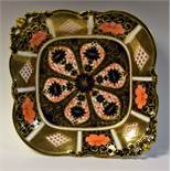 A Royal Crown Derby 1128 pattern shaped square footed bowl, first quality,