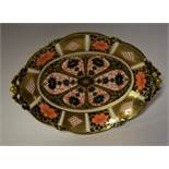 A Royal Crown Derby 1128 pattern shaped oval footed bowl, first quality, 29.