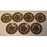 Royal Crown Derby - a set of seven 1128 Imari side plates, 16cm diameter,