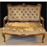 A French Hepplewhite design sofa, shaped cresting rail applied with a shell and C-scrolls,