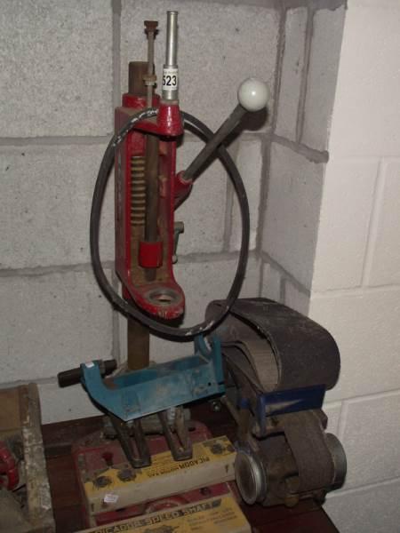 Lot 523 - An Arcoy electric drill pedestal etc., including belt sander attachment.
