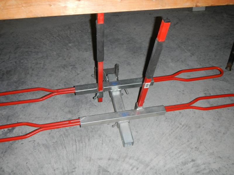 Lot 664 - A heavy duty tow bar attached bicycle/light motorcycle bike rack by Adams Engineering, Nottingham.
