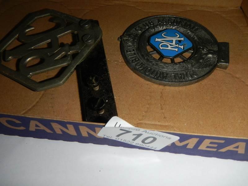 Lot 710 - 2 R.A.C car badges.