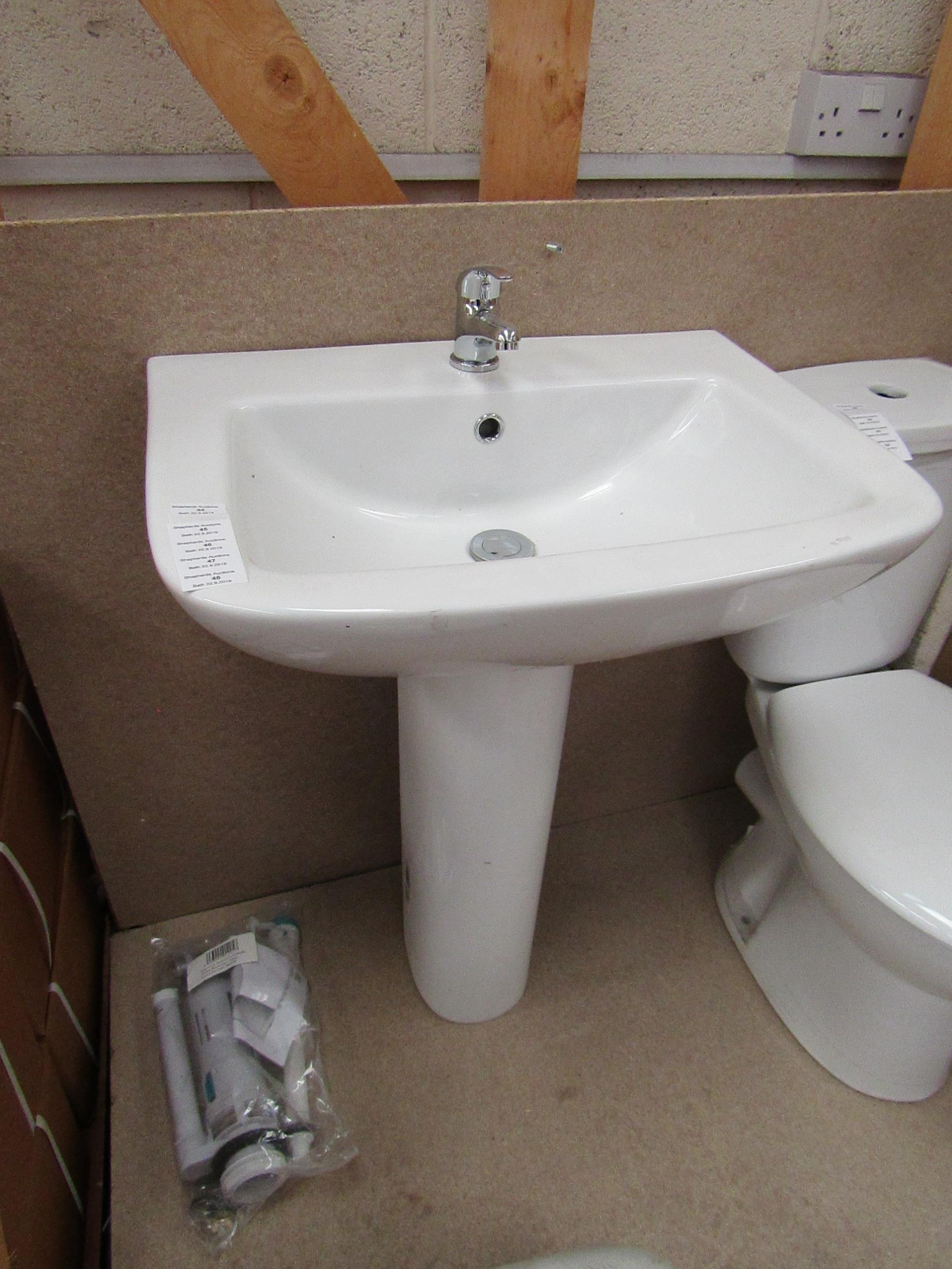 Lot 47 - Unbranded Roca Cloakroom basin set that includes a 620mm 1 tap hole sink with full pedestal and a