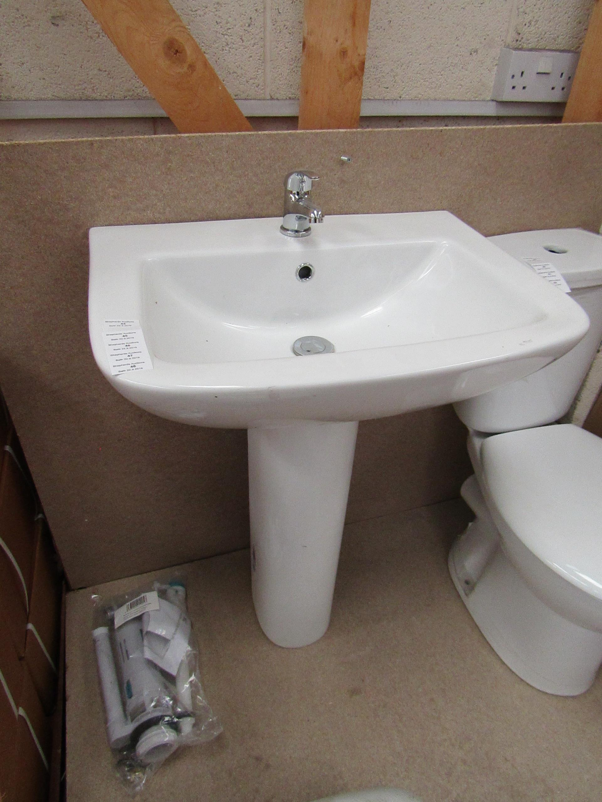 Lot 48 - Unbranded Roca Cloakroom basin set that includes a 620mm 1 tap hole sink with full pedestal and a
