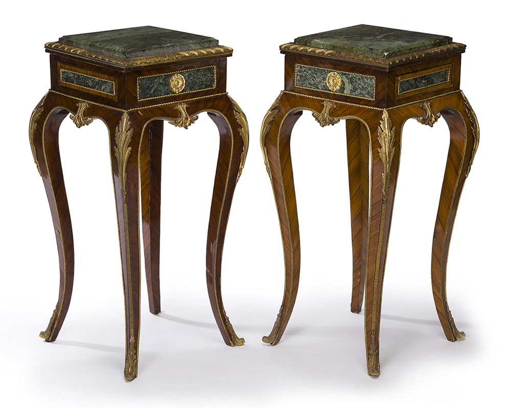 Lot 1052 - A pair of Louis XV-style lamp tables