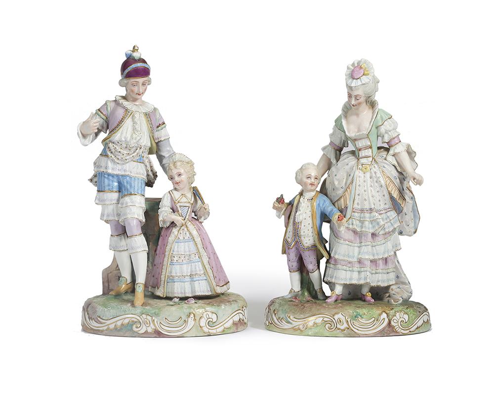 Lot 1011 - A pair of German porcelain figural groups