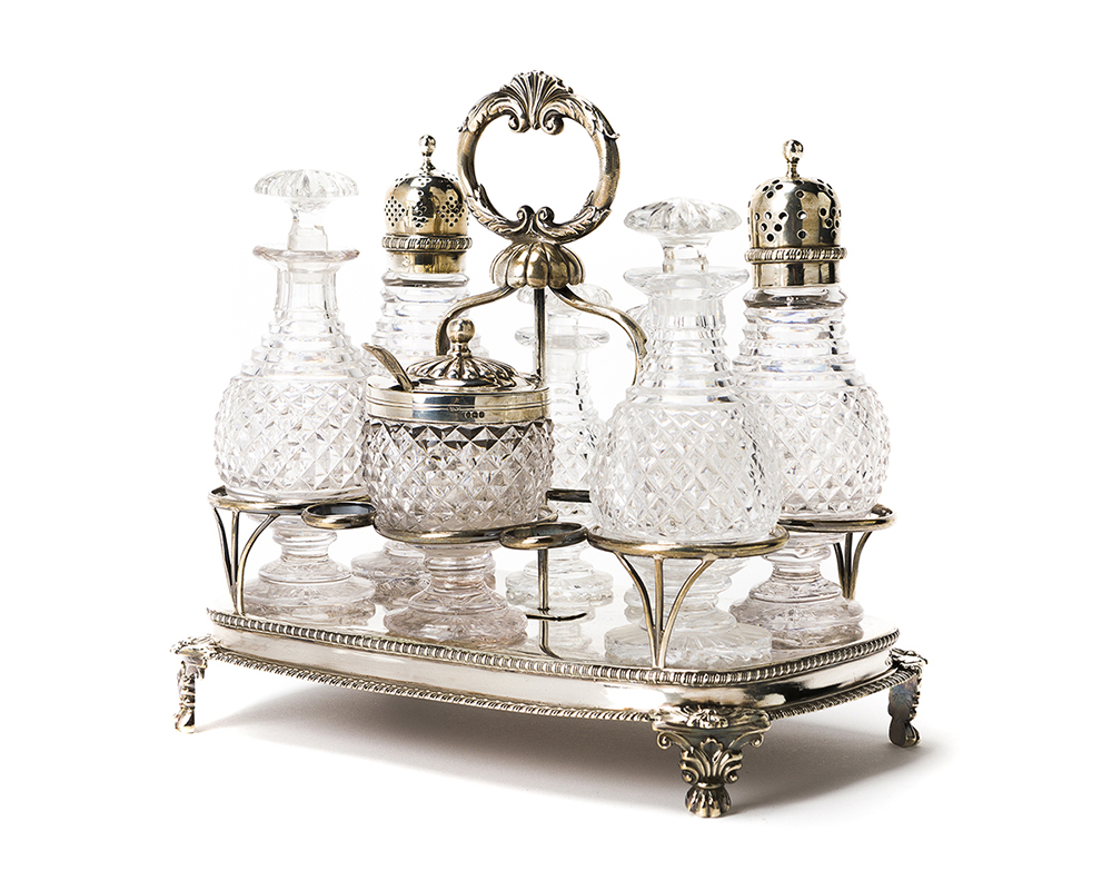 Lot 1015 - A Waterford crystal and English silver cruet set