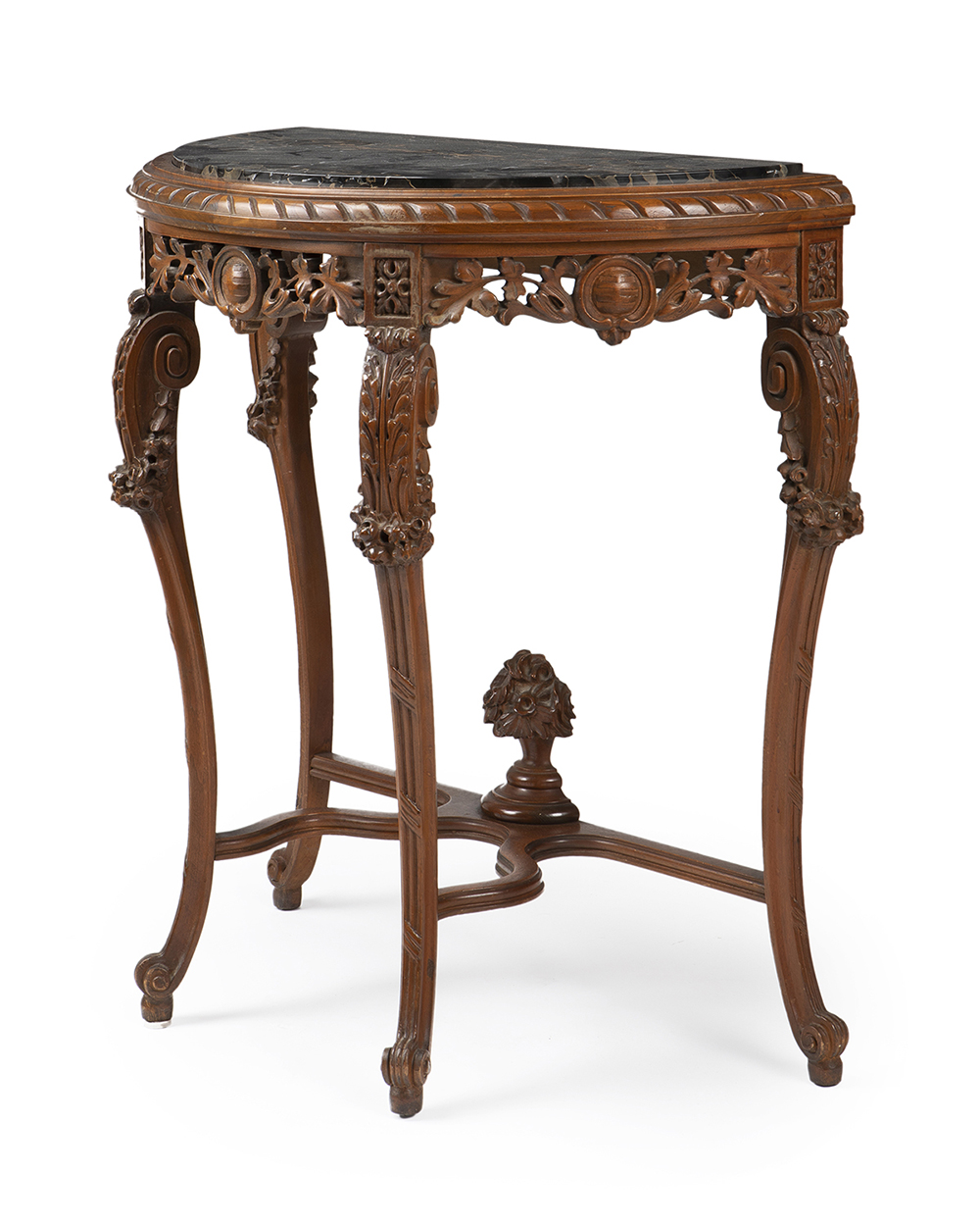Lot 1058 - A demi-lune table with marble top