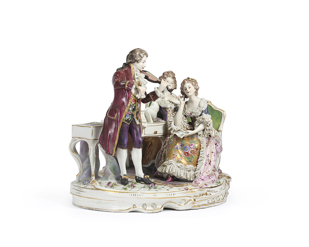 Lot 1030 - A large Meissen-style figural group of musicians